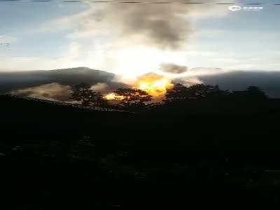 川气东输天然气管道恩施段发生爆燃 火光冲天