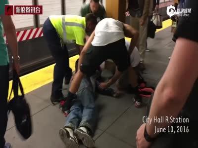 生死时速!美1男子跌落站台 列车进站前被救起