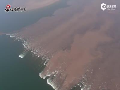 航拍:武汉牛山湖破垸分洪 空中俯瞰两湖变一湖